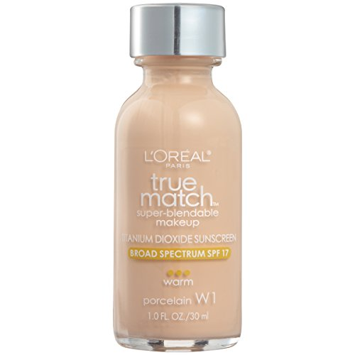 L'Oreal Paris Makeup True Match Super-Blendable Liquid Foundation, Porcelain W1, 1 Fl Oz,1 Count