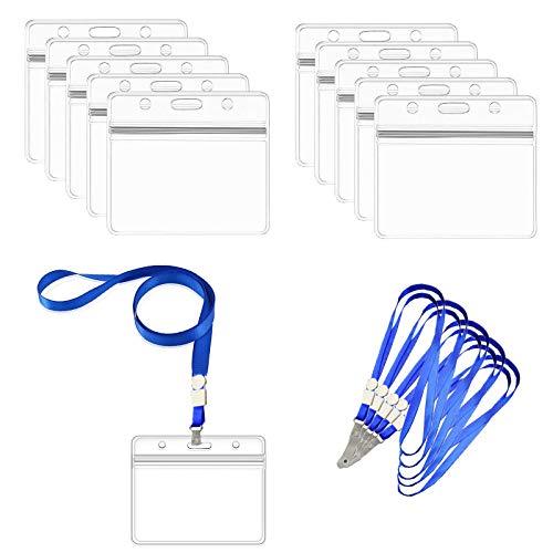 20 Sets Plástico Transparente de Nombre Horizontal de Identificación de La Insignia de Titulares de Tarjeta de Identificación, Colgantes de Tarjetas de Identificación para Oficina y Exposición