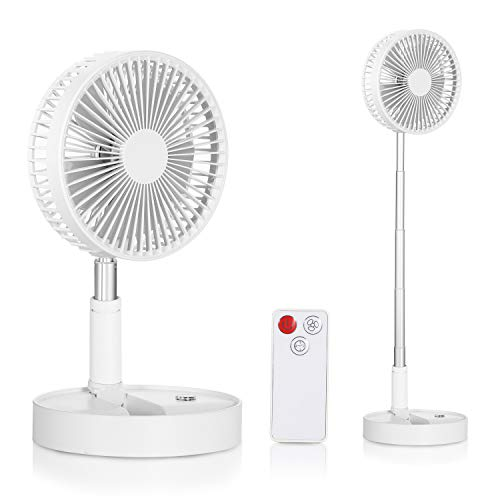 Foldable Mini pedestal Electric Fan Remote Control 4 Gears Adjustment Rechargeable USB Fan for Home Office