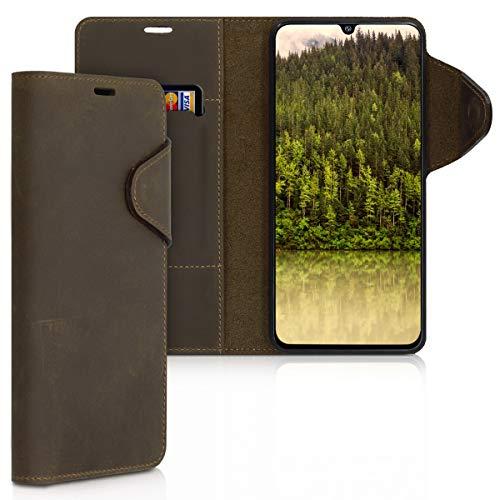 kalibri Hülle kompatibel mit Samsung Galaxy A90 (5G) - Leder Handyhülle - Handy Wallet Hülle Cover in Braun