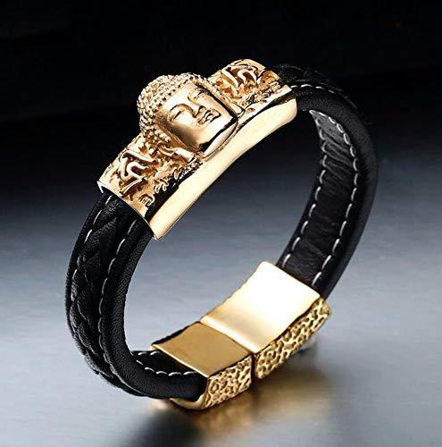 Armband Man Titan Stahl Fashion Leder Stricken Buddha Statue Persönlichkeit Kreativität Trend...