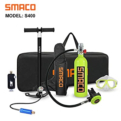 SMACO Scuba Tank Spare Air Diving Tank Mini Scuba Tank Scuba Cylinder with 15-20 Minutes Diving Oxygen Tank with Pump Breath Underwater Device?340 Breathe Times? S400 Dive Equipment Package D, Green