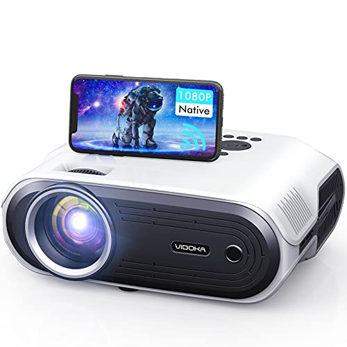 VIDOKA Wifi Projector Native 1080P, 8000L Full HD Video Projector with Carrying Bag Support Zoom & iOS/Android, Home&Outdoor Wireless Movie Projector Compatible w/SmartPhone/PC/TV Stick/PS4