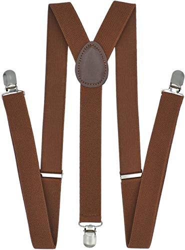 Trilece Suspenders for Men Women Boys Adults - Adjustable Elastic Y Back Style Suspender - Strong Clips - Various Colors - Brown