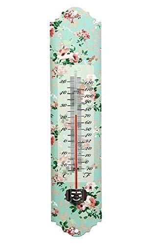 Linoows Nostalgie Thermomètre, Tôle Thermomètre Avec Fleurs de Rose, Mur