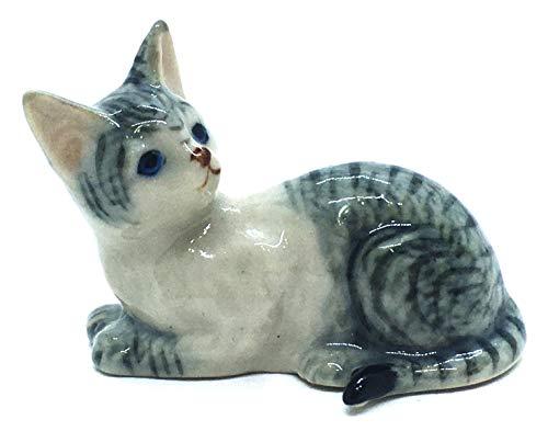 ChangThai Design Dollhouse Miniatures Ceramic Cat No. 1 Figurine Animals Decor