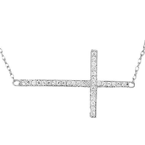 925sterling Silver Sideways Cross bianco CZ ciondolo collana