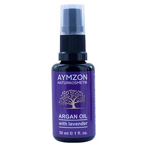 AYMZON Arganöl mit Lavendel 30 ml für natürliche Pflege der Haare, Haut, Gesicht und Nägel - Kaltgepresst - in Lichtschutz Glas-Flasche - Anti-Aging - Feuchtigkeitspflege