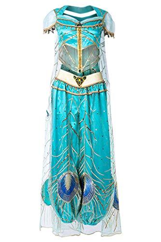 Bilicos Vestido de Princesa para Mujer Disfraz de Pavo Real Pantalones Superiores Conjunto de Diadema Carnaval Carnaval Carenado Traje de Danza del Vientre Cosplay Azul L