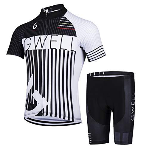 GWELL Herren Radtrikot Set Fahrrad Trikot Kurzarm + Radhose mit Sitzpolster Fahrradbekleidung MTB Sportanzug Weiß (Set mit Shorts) 3XL