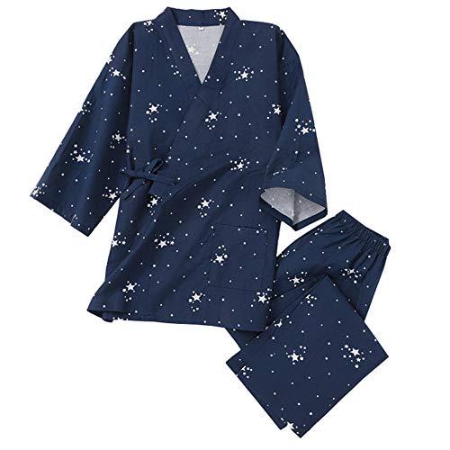 Trajes De Estilo Japonés De Los Hombres De Algodón Kimono Pijamas Traje De Vestir Vestido Set-Patrones Geométricos