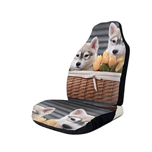 JONINOT Fundas para Asiento de Coche Manta de Silla elástica para Perro pequeño Husky con Asiento Universal para la mayoría de Coches/Camiones/SUV, 2 Piezas