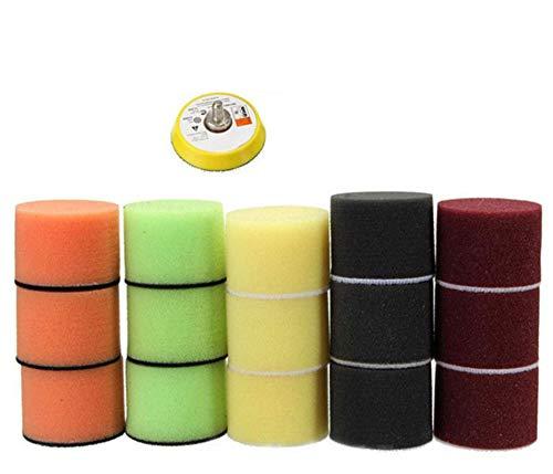 Kit de almohadilla de pulido de almohadilla de pulido de 16 piezas de 2', almohadilla de pulido de esponja de coche, adaptador de taladro, placa de respaldo de agarre,2 inch polishing disc set