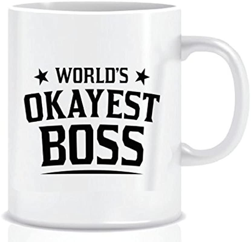 World S Okayest Boss Coffee Mug In Blue Ribbon Gift Box 11 Oz