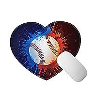 MuOoua マウスパッド 野球 赤い ブルー 鮮やか ハート形 面白い 洗える 滑り止め 小型 可愛い 子供ギフト オフィス用 心の形 おしゃれ 疲労軽減