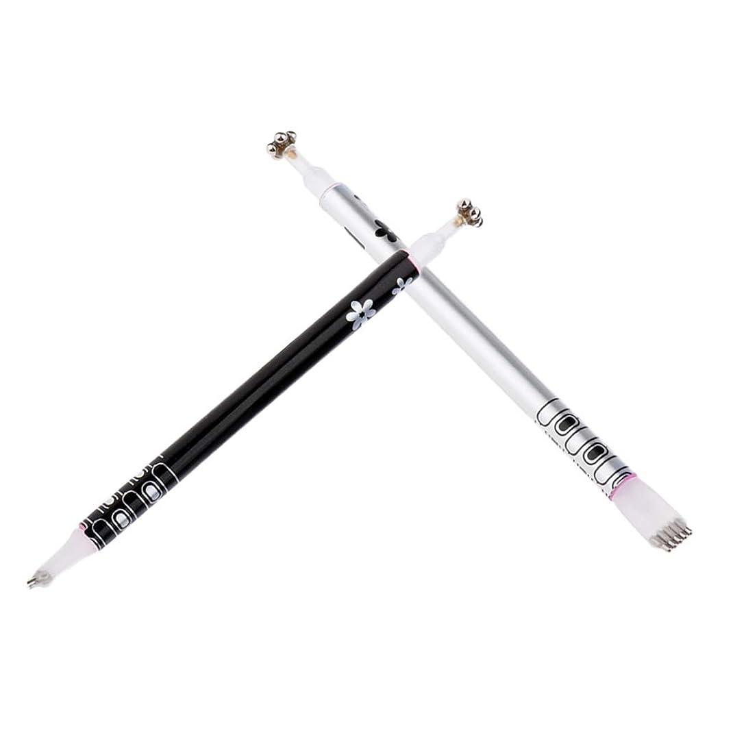 パブミルク六月Toygogo 2パックキャットアイ磁気スティック用UVジェルデュアルエンドマグネットペンマニキュアネイルアートツールDIY UVジェルペインティングデザインペン