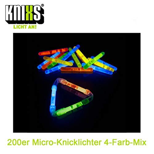 KNIXS 200 Stück Micro Mini Knicklichter Vorteilspack - im 4-Farb-Mix Leuchtend - 40 mm x 4,5 mm für Party / Angelsport (Bissanzeiger) / Luftballons oder als Dekoration