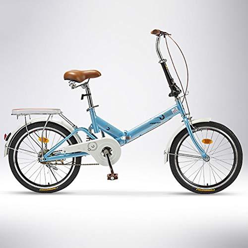 ZEIYUQI Plegable Bicicleta de Carretera Hombre 20 Pulgadas Aleación De Aluminio Bicicleta De Velocidad Montar al Aire Libre,Azul,Single Speed B