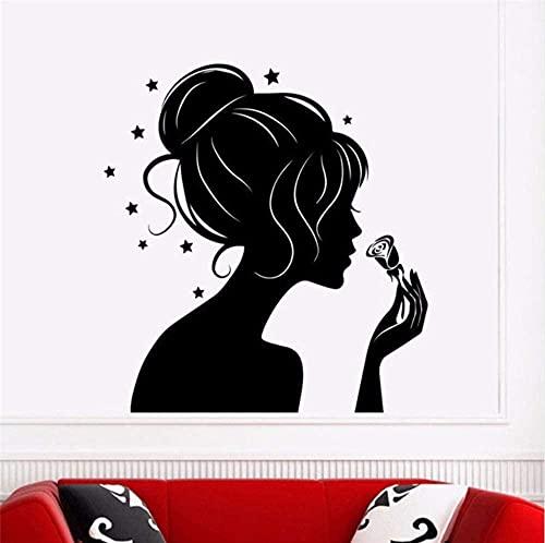 Arte de la pared pegatinas de pared decoración del hogar sala de estar chica silueta calcomanía estrella pegatina belleza peluquería barbería decoración arte Mural 56X58cm