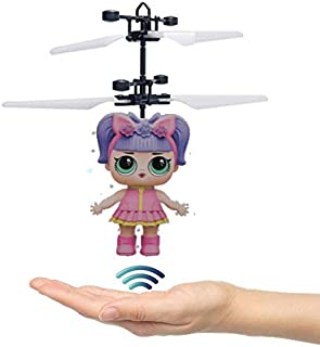 Flying Infrared Induction Doll Drone Toy Hand Control Helicopter with LED Lights USB Rechargeable Flying Doll (Pink-Purple Doll)