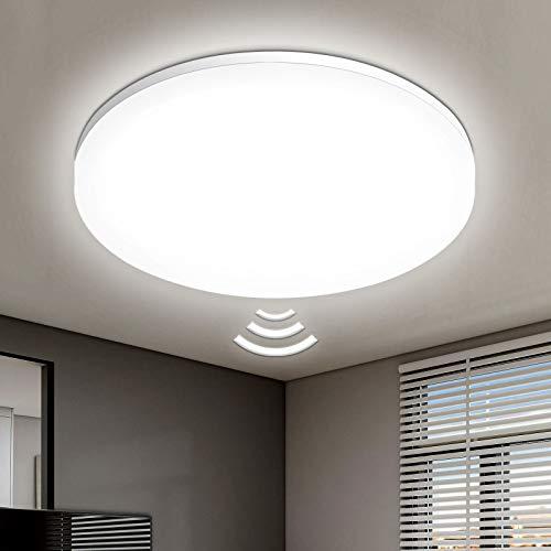Oraymin LED Deckenleuchte mit Bewegungsmelder Innen 24W 2400LM, IP54 Wasserdicht Rund Deckenlampe mit Lichtsensor , 4000K Neutralweiß Deckenlampe für Badezimmer Balkon Wohnzimmer Flur, Φ27.8cm