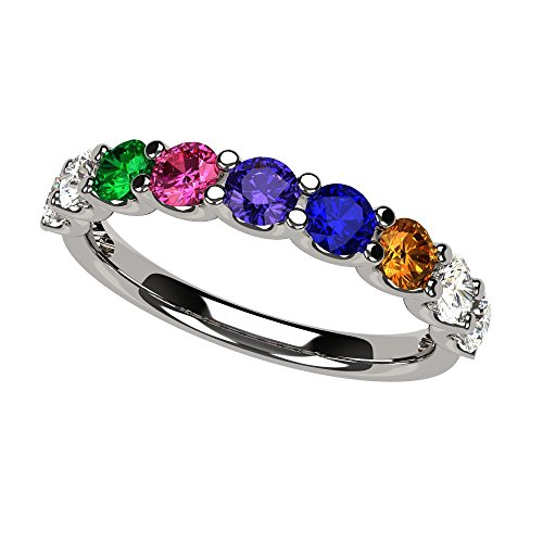 NANA U'r Family Ring 1 to 9 Simulated Birthstones - Sterling Silver - Size 8