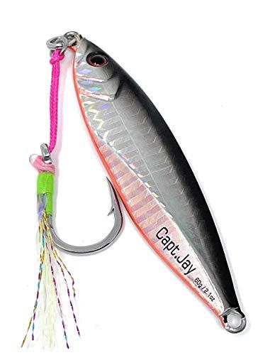 Capt Jay Fishing Saltwater jigs Speed Jigging Slow Jigging Pitching Lures,Vertical Jigging Artificial Lures Jigging Lure Fishing jigs (60g Black Silver, 60g)