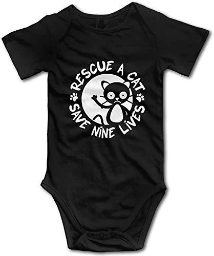 Rescue A Cat Save Nine Lives Romper Toddler/Infant Bodysuit Fashion Jumpsuit T Shirt for Baby Black