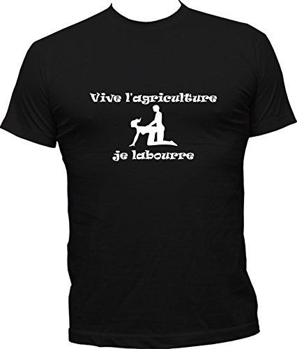 Boutique KKO - Maglietta umoristica con scritta in francese Vive L'Agriculture Je Labourre Nero  XXXXL
