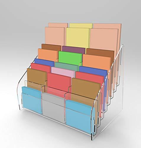 Espositore contenitore per schede Gratta e Vinci da banco 24 tasche (8+8+8) (Trasparente)