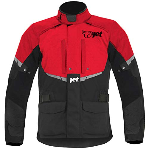 JET Chaqueta Moto Hombre Textil Impermeable con Armadura Tourer (5XL (EU 60 - 62), Rojo)