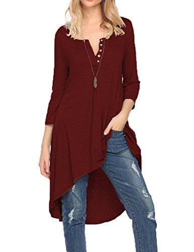 Naggoo Women's Half Sleeve High Low Long Shirts Loose Fit Casual Tunic Tops Tee Shirt Dress Wine Red
