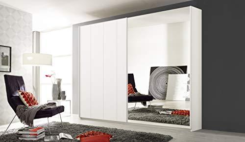 Rauch Möbel Seattle Schrank Kleiderschrank Schwebetürenschrank 2-türig in Weiß mit Spiegel inklusive Zubehörpaket Premium 2 Kleiderstangen, 5 Einlegeböden, 1 Schubkasteneinsatz BxHxT 226 x 210 x 62 cm
