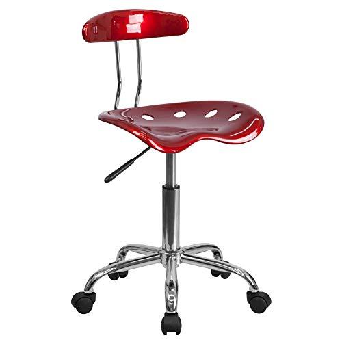 Flash Furniture Sedia da Scrivania Girevole, con Seduta in Stile Mezzadro, Colore Rosso Vino Acceso e Cromo