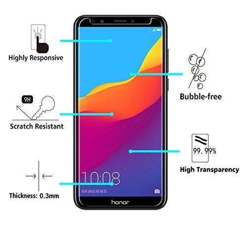 ivoler [3 Stücke] Panzerglas Schutzfolie für Huawei Honor 7C / Huawei Y7 2018 / Huawei Y7 Prime 2018 / Huawei Y7 Pro 2018, 9H Härte, Anti- Kratzer, Bläschenfrei, [2.5D Runde Kante] - 3