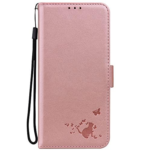 Midmelon - Carcasa para Samsung Galaxy J6 Plus 2018, diseño de gato y mariposa, piel sintética, resistente a las caídas y a las caídas, con imán, funda de protección, color rosa