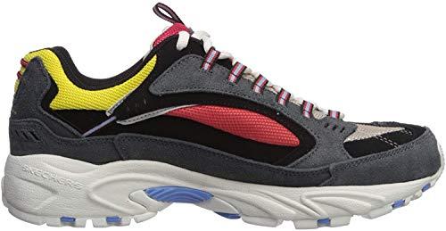 Skechers Men's Stamina Cutback Trainers, Grey (Charcoal Leather/Mesh/Red Trim Ccrd), 8 (42 EU)
