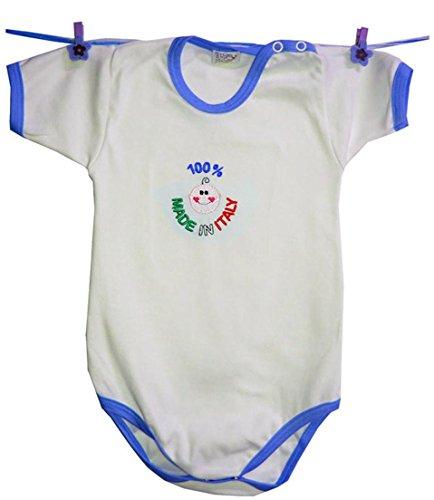 Zigozago - Body Bèbè à Manches Courtes pour bébé avec Broderie Made in Italy Taille: 18-24 Mois - Couleur: Bleu - 100% Coton