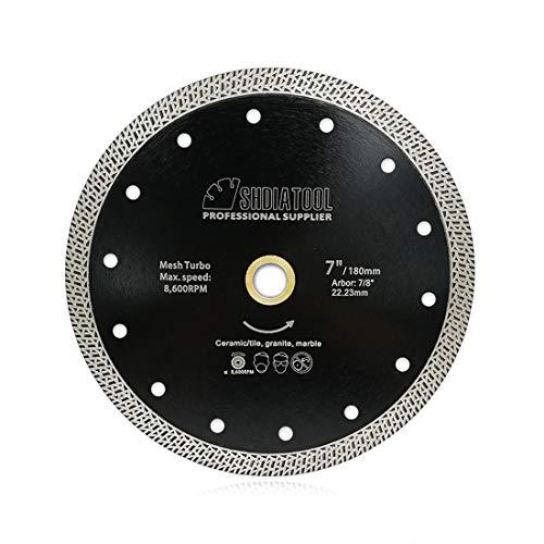 SHDIATOOL Disco Diamantato 180mm con Mesh Turbo per Porcellana Piastrella Ceramica Granito Marmo