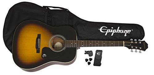 Epiphone Songmaker FT-100 Acoustic Guitar Player Pack with Gigbag, Strap, Picks, and Tuner - Vintage Sunburst