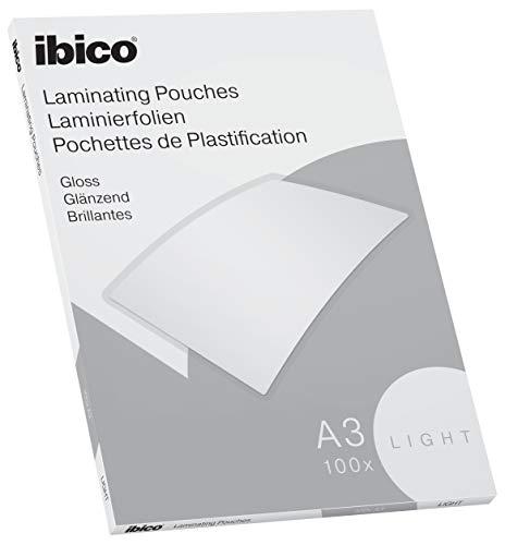 Ibico Basics Láminas para Plastificar Tamaño A3, Ligeras, Pack de 100, Acabado Brillante, Transparentes, 627311