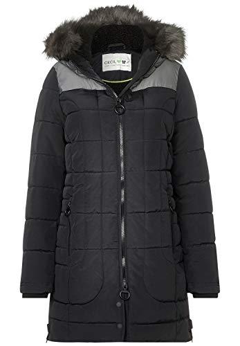 CECIL Damen 100538 Mantel, Mehrfarbig (Black 10001), Small (Herstellergröße:S)