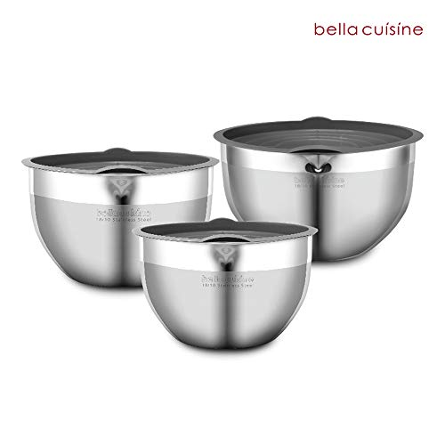 Stainless Steel Mixing Bowls 3pc-set with Plastic covers, Salad Bowls/Capacity 5Qt / 3Qt / 1.6Qt 5 Ltr 24cm, 2.8 Ltr 20cm, 1.6 Ltr 16cm