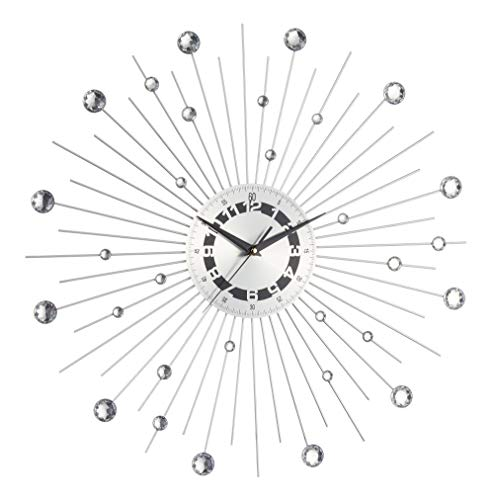 Orologio da parete argento lucido con strass a forma di raggi solari, diametro: 50 cm, materiale: metallo, movimento al quarzo, richiede 1 batteria AA (non inclusa)