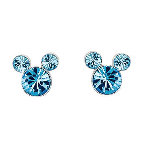 Disney Pendientes de plata con piedra natal de Mickey Mouse