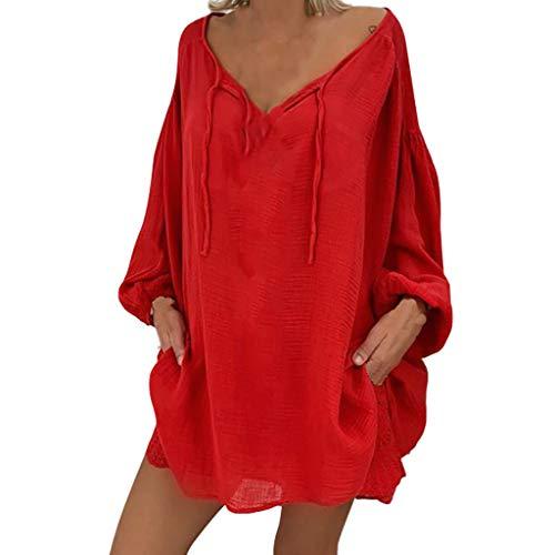 Oversize Tunika Tops Damen Lockere Bluse mit Kordelzug Oberteile Damen Lose Atmungsaktive Freizeit Basic Bluse für Mollige Tshirts mit Laternenärmel Herbst Sommer