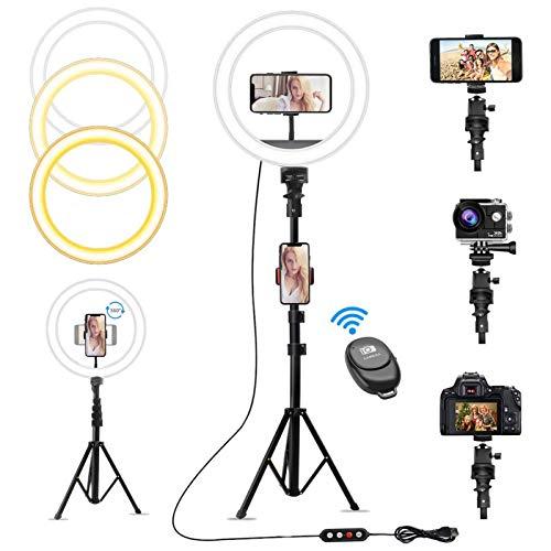 """Exmate 10""""RGB Selfie Ring Light con Selfie Stick Treppiede e Supporto per Telefono, 10 Modalità Colore RGB Luce Circolare, Ringlight LED Regolabile per Trucco Live Stream Registrazione Video"""