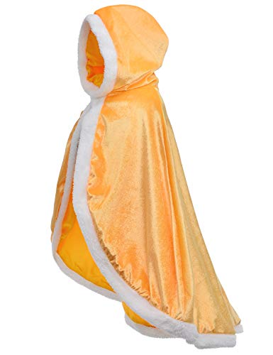Party Chili Fur Princess Cape Fur Hooded Cloaks Costume for Little Girls Dress Up Yellow 3-4 Years(110cm)