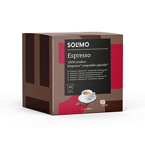 Marca Amazon - Solimo Nespresso Compatible Espresso Cápsulas - Certificada UTZ -100 Cápsulas (2 Paquetes x 50)