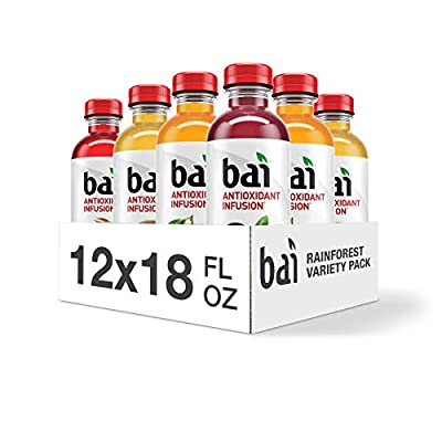 Bai Flavored Water, Rainforest Variety Pack, Antioxidant Infused Drinks, 18 Fluid Ounce Bottles, 12 Count, 3 Each of Brasilia Blueberry, Costa Rica Clementine, Malawi Mango, Sumatra Dragonfruit from Bai Brands Llc